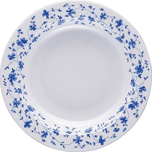 Arzberg 41382–607671–10123 Form 1382 Bleu Fleurs Assiettes Creuses 23 cm/FA, Porcelaine, Blanc/Bleu, 24,5 x 24,5 x 9,6014 cm