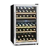 Klarstein Vinamour - Nevera para vinos, Nevera para bebidas, Refrigerador gastronomía, 2 Zonas, 41 Botellas, 5 Baldas, Iluminación LED, Módulo independiente, Silencioso, Negro-plateado