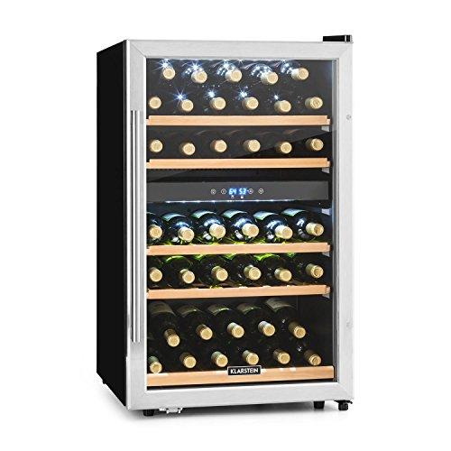 Klarstein Vinamour 40D - Touch Edition wijnkoeler met 2 zones, glazen deur, roestvrijstalen frame, binnenverlichting, zeer stil, 41 flessen, deurscharnier rechts, vrijstaand, zwartzilver