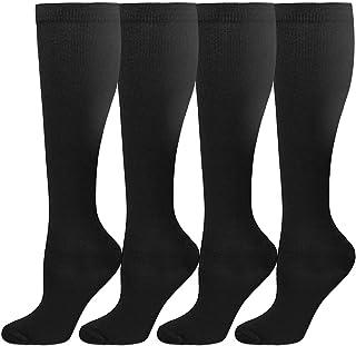 HLTPRO 4 Pairs Compression Socks for Men, 15-20 mmHg Knee High Socks for Running, Sports, Nurse, Medical, Travel