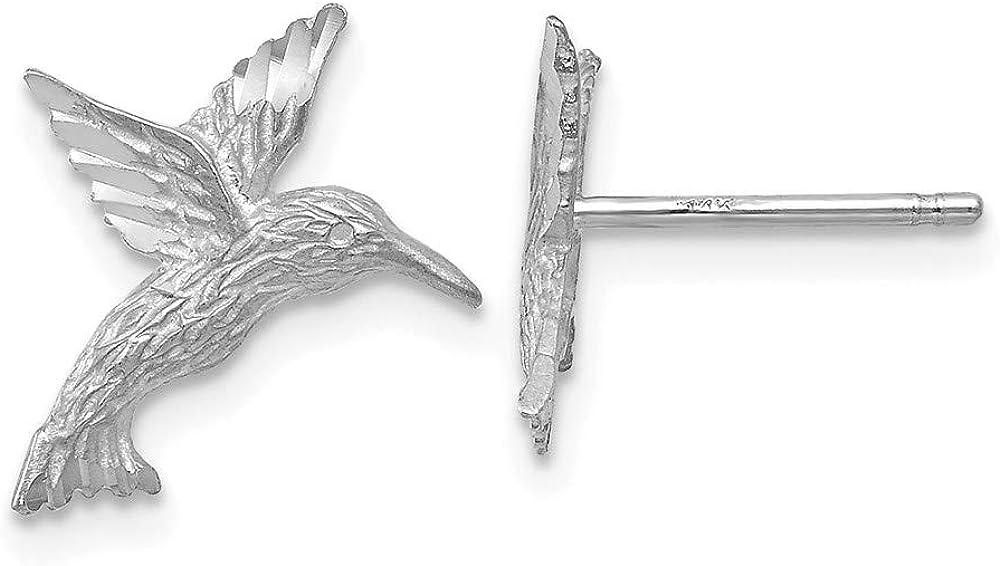 14k White Gold Hummingbird Earrings 14mm 12mm style TC626W