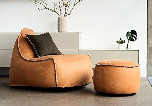 SACKit - RETROit Dunes Cognac – EIN exklusiver Indoor Sitzsack aus Leder - Der perfekte Sessel mit Lehne für Ihre Lounge - Moderner Sitzsacke im Vintage Look - Kombinierbar mit einem Hocker