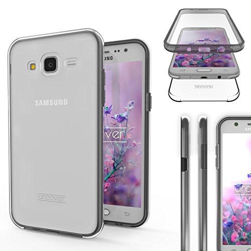 Urcover Funda Compatible con Samsung Galaxy J5 2015, Carcasa Mejorada Cover 360 Grados, edicion Dura, Carga inalámbrica Qi, Case Transparente Crystal Clear - Negro