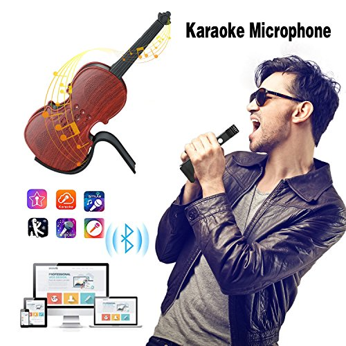 Microphone for Kids Karaoke Microphone Wireless Bluetooth HiFi Speaker for iPhone Android iPad PC Portable Microphone for Singing Home Party - Red Sandalwood