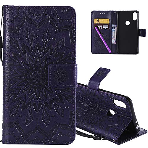 HMTECHUS Moto One case Sun Flower Embossed for Girls Retro Wallet with Card Cash Slots PU Premium Leather Magnetic Flip Stand Shockproof Ultra-Thin Cover for Motorola Moto P30 Play Mandala Purple KT