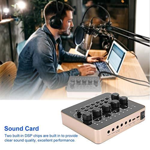 Diyeeni Live-Soundkarte, Karaoke-Audio-Sound-Adapter, externer Sound-Mixer für Broadcast, Sprachaufnahme, 12 Arten von Soundeffekten, 5 Sound-Modi, Unterstützung von Zwei Live-Geräten gleichzeitig