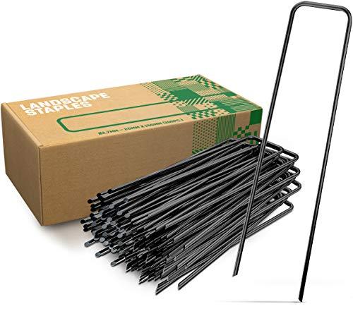 GardenGloss Erdanker aus Stahl unverzinkt (50 Stück) - Stabile Bodenanker für Unkrautvlies, Gartenvlies, Zaun & Netz - 150 MM Lang, 25 MM Breit, Ø 2.7 MM
