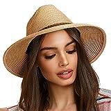 FURTALK Sun Hats for Women Summer Wide Brim UV UPF 50+ Panama Fedora Foldable Packable Straw Beach Hat Khaki