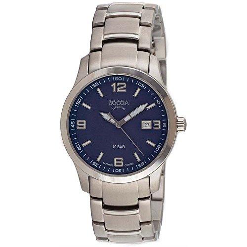 Boccia Herren Analog Quarz Uhr mit Titan Armband 3626-05