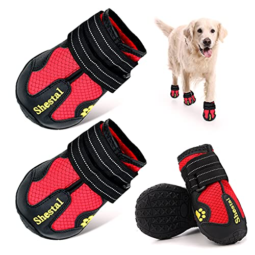 CADO SHY Dog Shoes for Hot Pavement, Dog Boots for Large Dogs, Dog Summer Hiking Booties for Anti-Slip, Heat Protection, Breathable and Comfortable Material with Adjustable Straps, 4Pcs, Red
