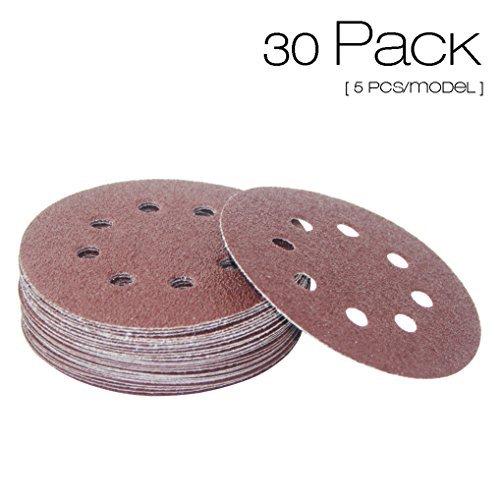 VIGAER Sanding Discs Sandpaper, 30 Pcs 5 Inch 8 Hole Hook and Loop Sanding Sheets 40/60/80/120/180/240 Grit Assortment
