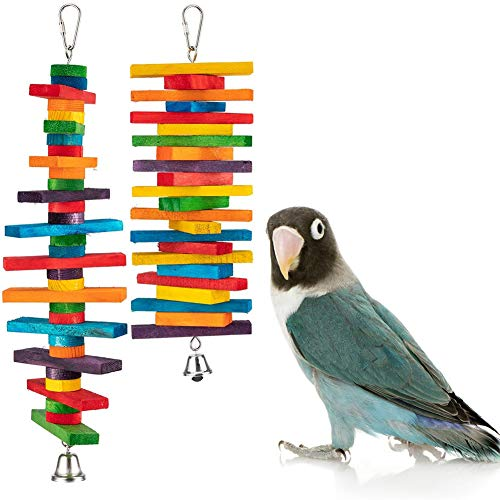 Coppthinktu Bird Toys, 2 Pack Parrot Bird Chew Toy with Bell, Parrot Bird Chew Toy Multicolored Wooden Block Bite Toys, Wooden Block Bird Parrot Toys for Small and Medium Birds