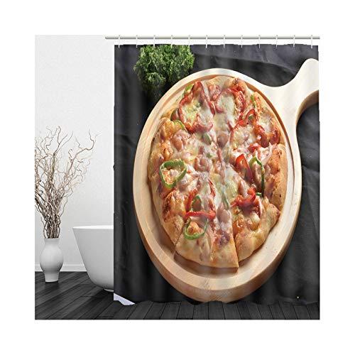 KnSam Duschvorhang, Essen Pizza Duschvorhänge Waschbar Polyester Badezimmer Deko Vorhang Aufhänger Duschvorhänge 65X79Inch