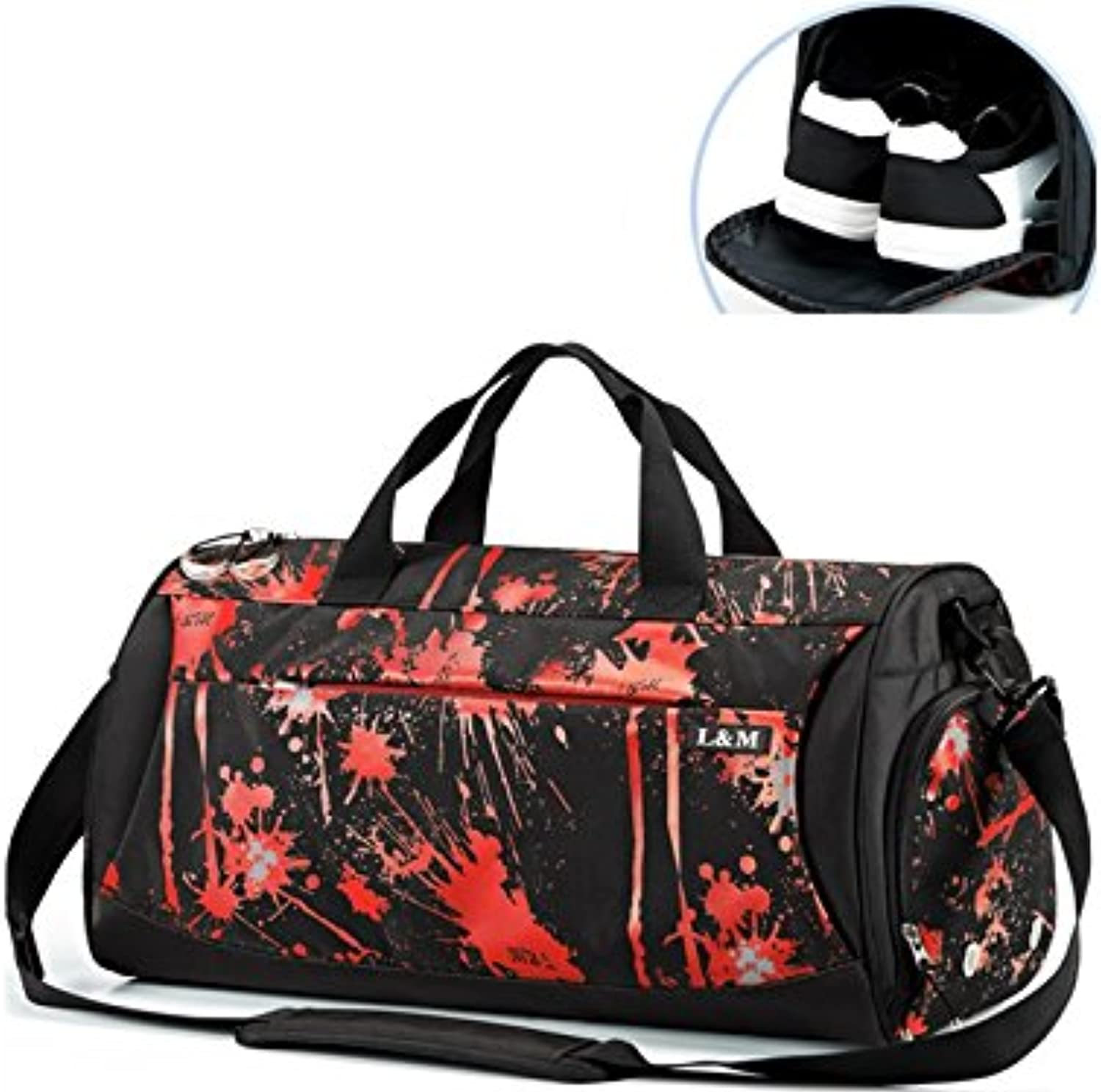 d12f41873 Hiking Outdoor Large Gym Bag Sports Holdall Travel Weekender Duffel Bag  with shoes Compartment(Water Flower for Outdoor Traveling Capacity Red) ...