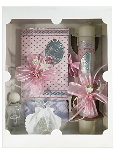 Spanish Handmade Christening/Baptism Set for Girl, Boy, or Unisex Including: Candle, Bible, Dry Cloth, Sea Shell, Rosary and Holy Water Bottle –Bautizo Religious Gift (Pink)