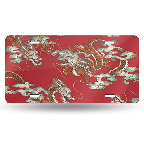 BRIGHT JUNAY Cool Metal License Plate,Watercolor Aggressive Japanese Dragon Pattern Aggressiveness Angry Animal Artistic Car Front License Plate 6 Inch X 12 Inch