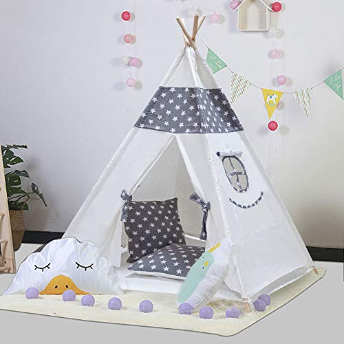 TOUCH-RICH 5FT Durable Teepee for Kids, Indian Play Tent, Sturdy & Safe Kids' Furniture with Window & Floor, Including Style Matching Accessories &Two Pillowcase (Grey Stars)