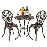 U-Kiss Sitzgruppe 3-teilige aus Tisch und 2 Stühlen aus Metall Gartenmöbel Set für Balkon/Terrasse - Bistro-Set wetterbeständig, Gusseisen-Metall als Gartendeko