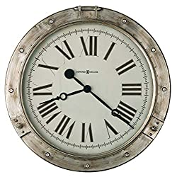 Howard Miller Chesney Gallery Wall Clock 625-719 – 28.25-Inch Diameter, Aged Silver Finished Frame, Metal Timepiece, Port Hole Design, Vintage Home Decor, Quartz Movement