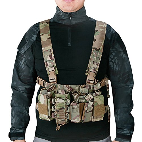 XUE Chaleco Tactico Multicam para Hombre Airsoft Militar Caza Ejercito Policial Trabajo Paintball Camuflaje Molle Accesorio mit 5,56 9mm Porta Cargador Multibolsillos