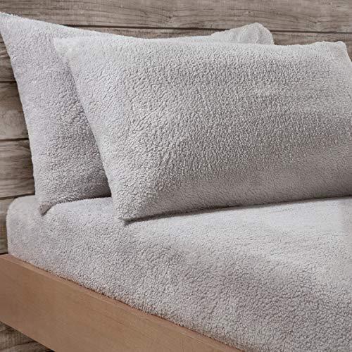 Sleepdown Juego de 2 Fundas de Almohada de Forro Polar de Peluche para ama de casa, 50 cm x 75 cm, Color Gris