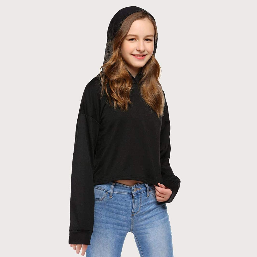 Sweat-Shirt Fille Ado Automne Enfants Teen Girls Crop Tops Sweats /à Capuche Tie-Dye Pull /à Manches Longues Sweatshirts Tops Rhino Valley Sweat Capuche Femme