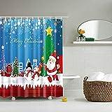 JameStyle26 Cortina de ducha con diseño de muñeco de nieve y árbol de Navidad, impresión digital, incluye anillos antimoho, para baño, lavable, 180 x 200 cm, diseño de Papá Noel