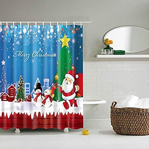 JameStyle26 Duschvorhang Weichtsmann Tannenbaum Schneemann Xmas Weihnachtsbaum Vorhang Digitaldruck inkl. Vorhangringe Anti Schimmel Badezimmer Badewanne waschbar (180 x 180 cm, Weihnachtsmann)