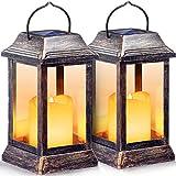 TomCare Solar Lights Outdoor Flickering Flameless Metal Solar LanternOutdoor Hanging Decorative Candle Lanterns Heavy Duty Waterproof Umbrella Decorations Lighting for Patio Garden Deck Yard, 2 Pack