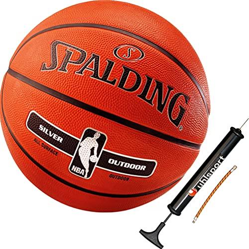 Spalding Ball Basketball NBA Silver Outdoor Größe 6 inkl. Ballpumpe
