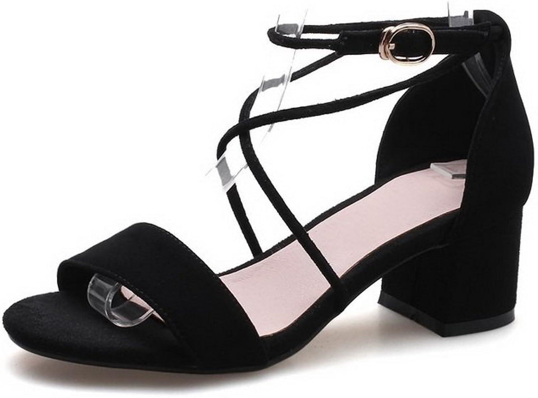 AdeeSu Womens Chunky Heels Buckle Peep-Toe Wool Sandals SLC03613