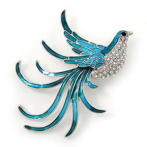 Avalaya Teal/Light Blue Enamel Crystal Exotic Bird Brooch in Rhodium Plating - 65mm Across