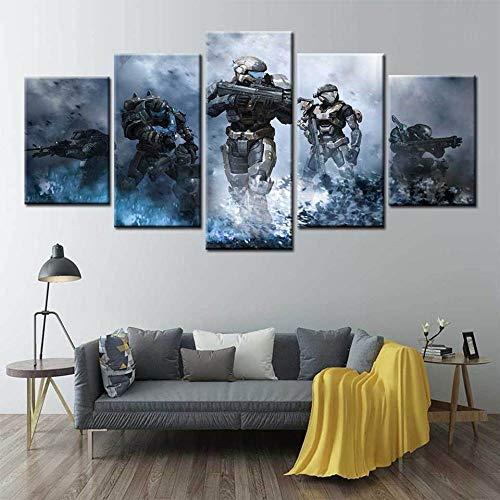 ADGUH 5BilderLeinwan5 Panels Videospiele Halo Poster Wandkunst Leinwand Malerei Bilder Für Wohnzimmer Wohnkultur5 Drucke auf Leinwand