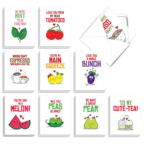 The Best Card Company - 20 Note Cards Blank Assortment (4 x 5.12 Inch) (10 Designs, 2 Each) - Yummy Puns AM5659OCB-B2x10
