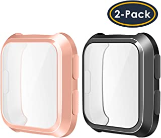 QIBOX Compatible with Fitbit Versa Screen Protector Case, 2-Pack TPU Rugged Bumper Case..