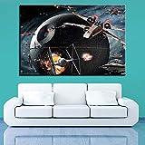 JXFFF 3D HD Printing HD Estampe Toile Mur Art Photo Décoration de La Maison X Aile Planète Peinture Death Star Film Avion Affiche40x60cm sans Cadre