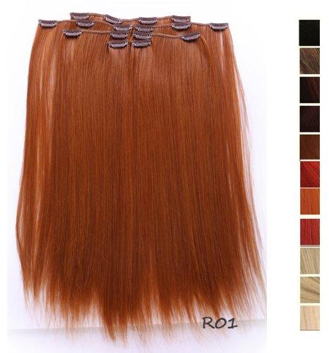 Prettyland - K170 7 teilig 50cm Clip-In glatt strähnen Haarteil Haarverlängerung - R01 Kupferrot