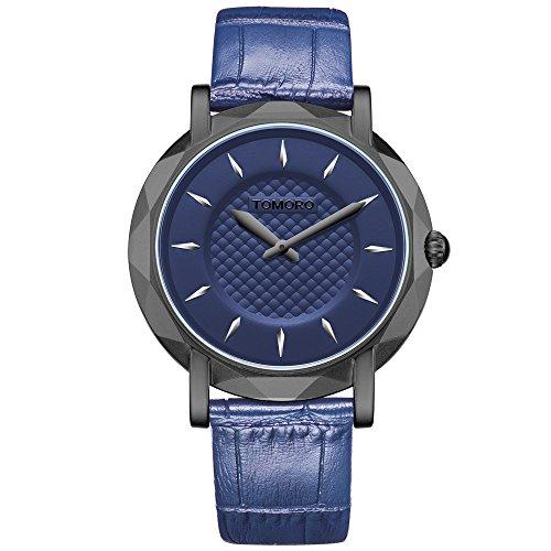 TOMORO Slim Eclipse Luxury Men Watch Japan Quartz Brass Case Leather Ultra Thin Black Casual Clock (Blue)