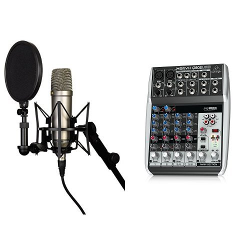 Rode NT-1A Großmembran-Kondensatormikrofon mit goldbedampfter und elastisch gelagerter 2,5 cm (1 Zoll) Nierenkapsel + Behringer Q802USB Xenyx Premium 8-Kanal 2-Bus Mixer mit Mic Preamps/Kompressoren/British EQs und USB/Audio Interface Bundle