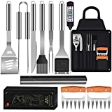 JYSW BBQ Grill Accessories,12PCS Stainless Steel Grilling BBQ Tool Set with Metal Meat Claws/Apron/Thermometer Men Women BBQ Grilling Tools Set for Outdoor/Indoor