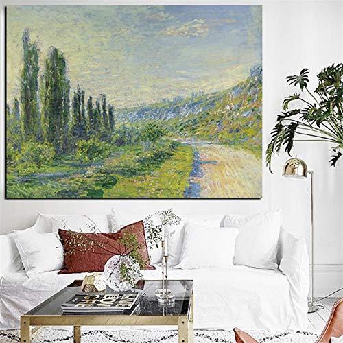 wZUN Lienzo en la Pared, impresión artística, Paisaje impresionista Verde, Pintura al óleo, Cartel, Pared Rural Original, Pintura para Sala de Estar 60x90 Sin Marco