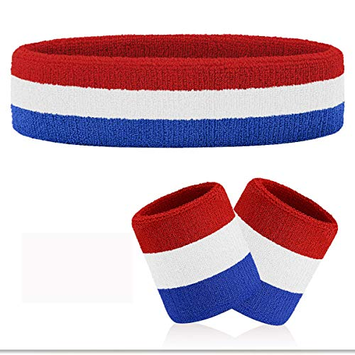 VENI MASEE Schweißband Set Sport Stirnband und Handgelenk Schweißbänder Baumwoll Schweißband - A4-Blue/White/Red(1Headband+2Wristbands)