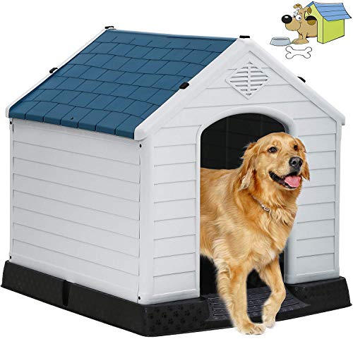 TTY Store Indoor Outdoor Dog House Big Dog House Plastic Dog Houses for Small Medium Large Dogs, 32 Inch High All Weather Dog House with Base Support for Winter - 34.5 in(L)×30.5 in(W)×32 in(H)