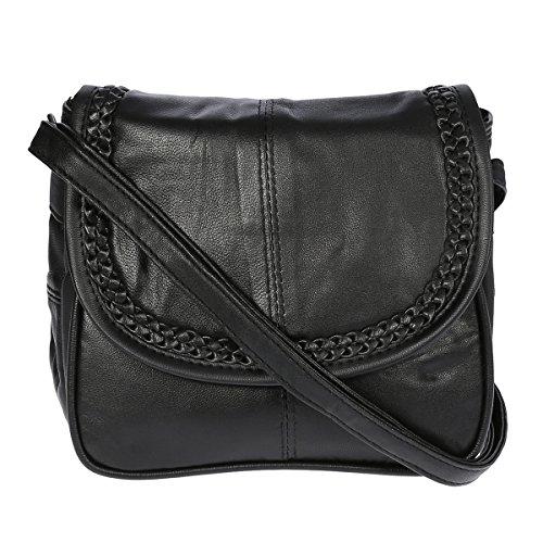 Kleine Lambskin Damen Leder Tasche Handtasche Überschlag Umhängetasche Schultertasche Clutch Damentasche Ledertaschen (Schwarz (18x16x4 cm))