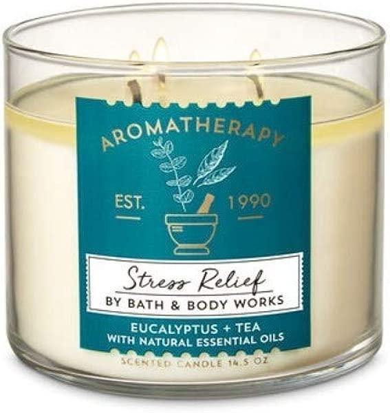 沐浴和身体作品香薰桉树茶 3 灯芯蜡烛