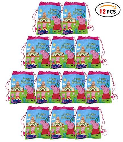 Qemsele Partytüten Mitgebsel Kindergeburtstag Gastgeschenke Tüten Tasche 12 Stück, Kordelzug Rucksack Bag Turnbeutel für Kinder Mädchen Frauen Kindergeburtstag, Geburtstagsfeier (Peppa Pig)