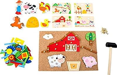 Small Foot Wooden Toys Farm Theme Hammer Arts & Crafts Playset Designed for Children Ages 6+