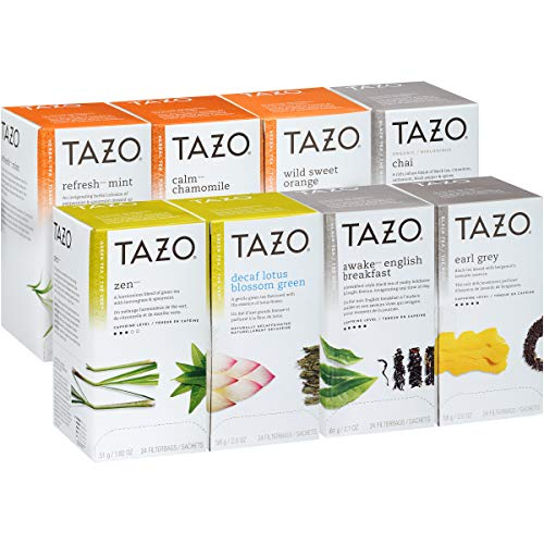 TAZO Black, Green and Herbal Assorted Variety Pack Enveloped Hot Tea Bags Non GMO, 24 count, Pack of 16