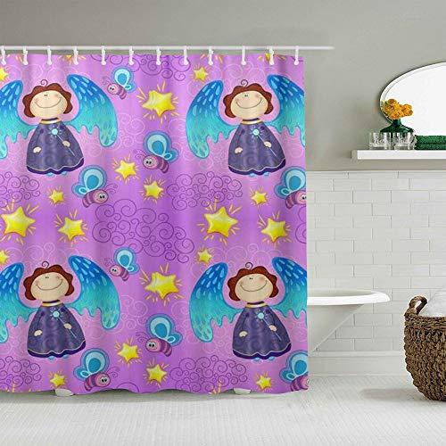 JIOLK Personalisierter Duschvorhang,Bunter Baby-Feen-Engel-Hintergr&,wasserabweisender Badvorhang für das Badezimmer 180 x 180cm