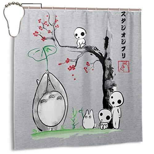 GSEGSEG Duschvorhang, wasserdicht, Polyester, Motiv: Studio Ghibli wachsende Bäume, Sumie Totoro, bedruckt, dekorativer Badezimmer-Vorhang mit Haken, 183 x 183 cm